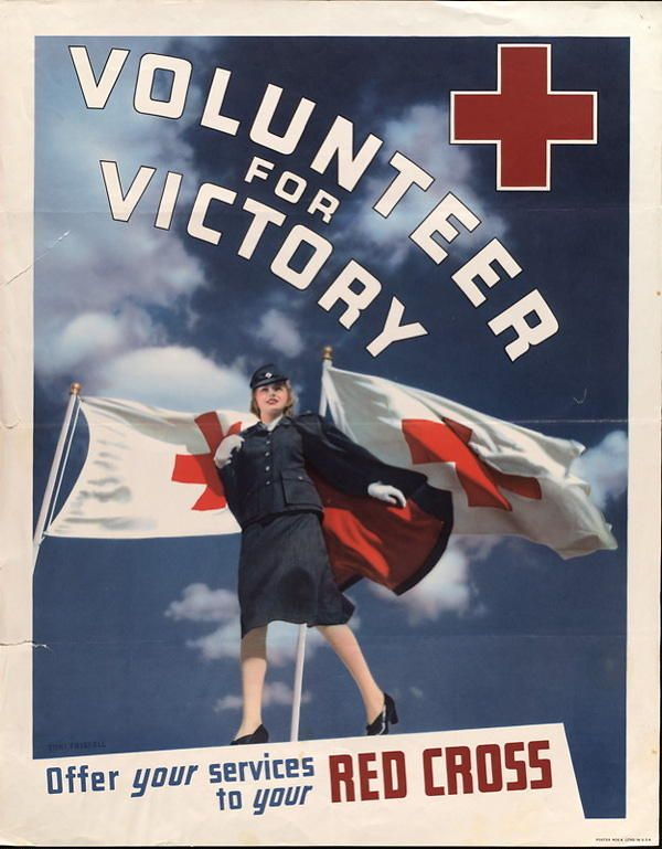 "American WWII recruitment poster for the Red Cross: ""Volunteer for Victory"""