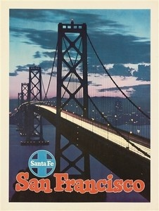 """San Francisco - Santa Fe"" golden gate CANVAS print of vintage TRAVEL poster 