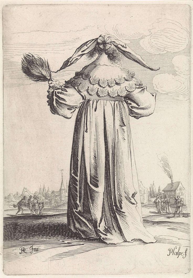 Pieter Nolpe   Vrouw op de rug gezien, Pieter Nolpe, 1623 - 1653   Een staande vrouw, op de rug gezien, houdt in de linkerhand een veren stokwaaier. Zij is gekleed in een lange japon met een dubbele platte kantenkraag. Haar kapsel is van achteren met een rozet versierd en de punten van de hoofddoek steken uit. Prent is deel van een serie van verschillende dames en herenkostuums.