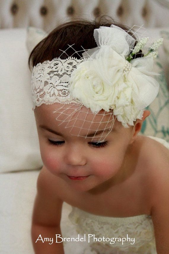 The Pearl- Flower girl Downton Abbey Deco Baby girl newborn toddler shabby chic off white bow feather photo prop headband