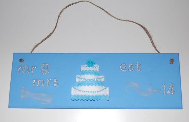 Handmade Personalised Wedding 'Mr and Mrs'  'Est date' Sign Felt Wedding Cake  £14.99