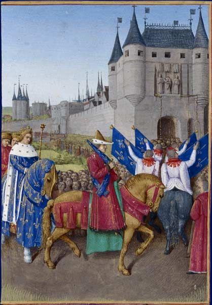 Entrée de Charles V à Paris Grandes Chroniques de France, enluminées par Jean Fouquet, Tours, vers 1455-1460 Paris, BnF, département des Manuscrits, Français 6465, fol. 417 (Livre de Charles V) - baldric crossed at bottom end @ hip