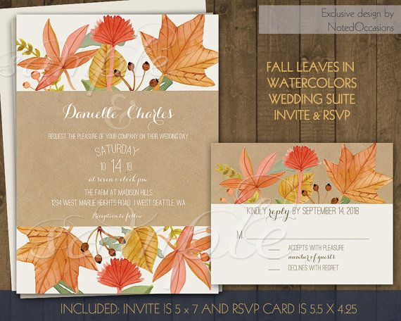 Fall Leaves Wedding Invitations Set Diy Printable Sets With Watercolor Berries Autumn
