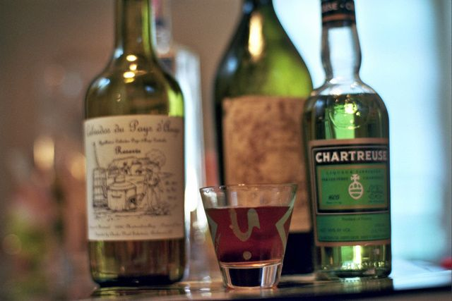 Warday's Cocktail  1 Teaspoonful Chartreuse 1/3 Italian Vermouth. 1/3 Dry Gin 1/3 Calvados or Apple Brandy