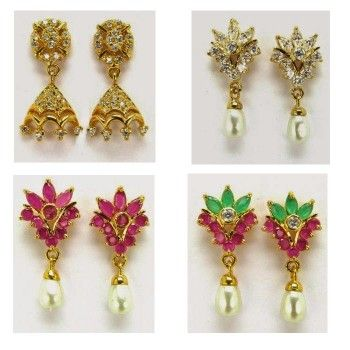 4 Daily wear ‪#‎Earrings‬ Sets - Rs 1,320.00 and shipping charges only Rs,120/- all over India