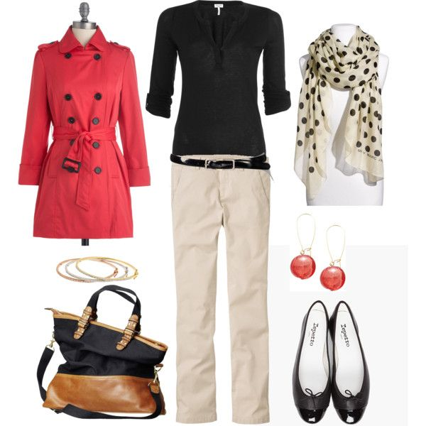Coral, Black and Cream, created by bluehydrangea on Polyvore