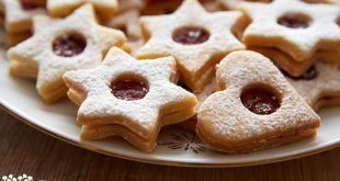 Closeup of Christmas Linzer cookies on the table very shallow focus ** Note: Visible grain at 100%, best at smaller sizes