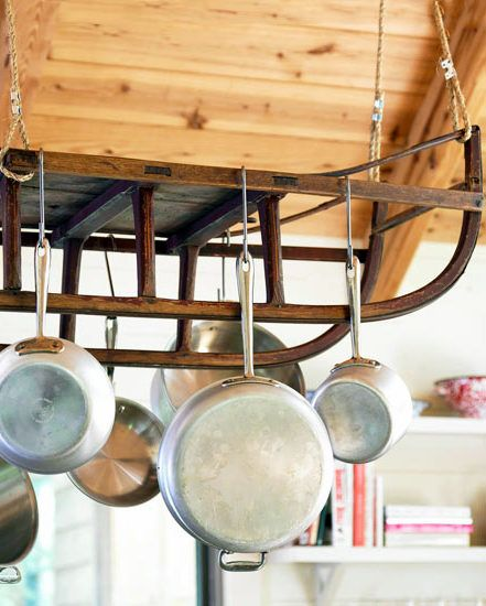 Reclaimed wood and an antique sled come together to make for Reclaimed wood pot rack