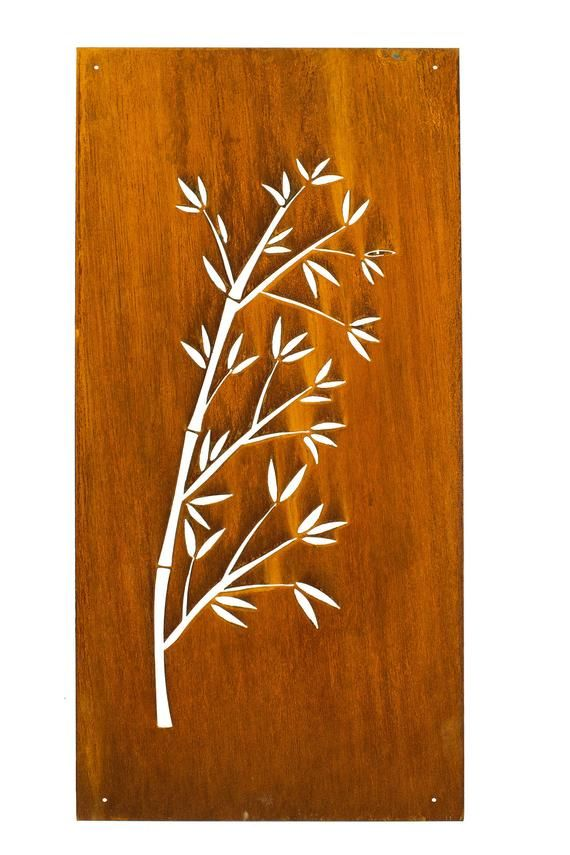 Bamboo Art With Leaves Rustic Metal Wall Art Japanese Garden
