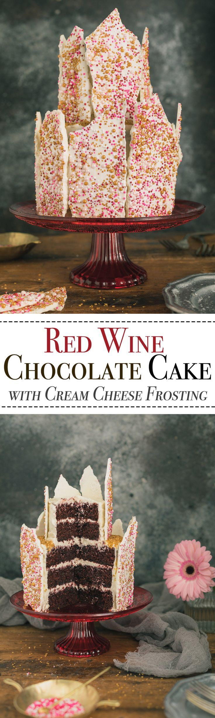 Red Wine Chocolate Cake with Cream Cheese Frosting - An irresistibly moist chocolate cake is spiced with the dark fruit notes of Malbec wine & coated with a lightly sweetened cream cheese frosting, then covered with a sprinkle embellished white chocolate