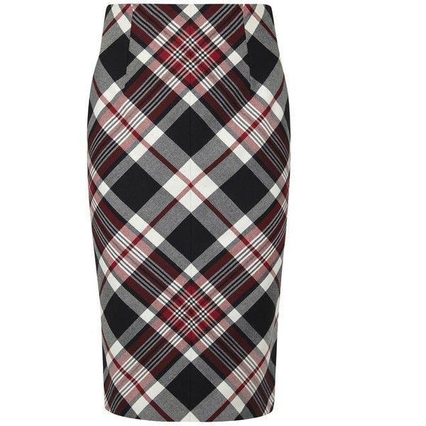 Womens Pencil Skirts Alexander McQueen Plaid Wool Pencil Skirt (73.020 RUB) ❤ liked on Polyvore