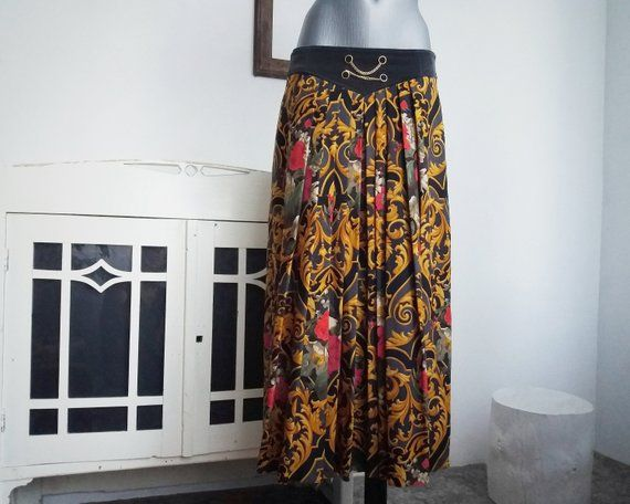 Vintage Chains Baroque ornament Floral Pattern Skirt Gerry Weber Wool size 40