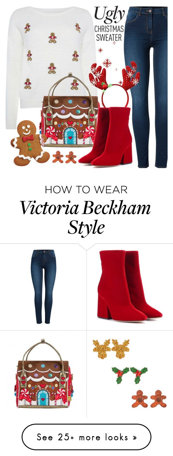 """""""Gingerbread Christmas Sweater"""" by chey-love on Polyvore featuring Pieces, Irregular Choice, Maison Margiela, Wilton, Christmas, gingerbread and uglychristmassweater"""