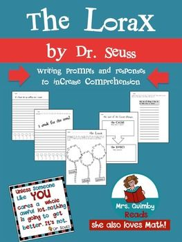 """Read """"The Lorax"""" by Dr. Seuss and then use these pages to check comprehension.  Celebrating Dr. Seuss and his infinite wisdom!There are:2 writing response pages1 cause and effect page1 page to write about author's purpose for writing book       *persuade, inform, and entertain*1 making a list page1 quote by Dr.Seuss from the Lorax to display in your room6 total pages to use with this wonderful book by Dr."""