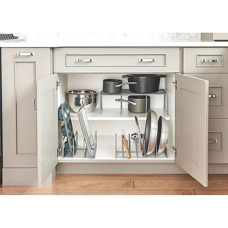Org Metal Pot And Lid Organizer In Silver Kitchen Organization Diy Inside Kitchen Cabinets Diy Kitchen Storage