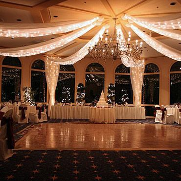 Will definitely have a chandelier and drapery and lights for Wedding reception room decoration ideas
