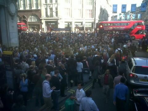 Oxford Circus station traffic after 6PM - London, UK