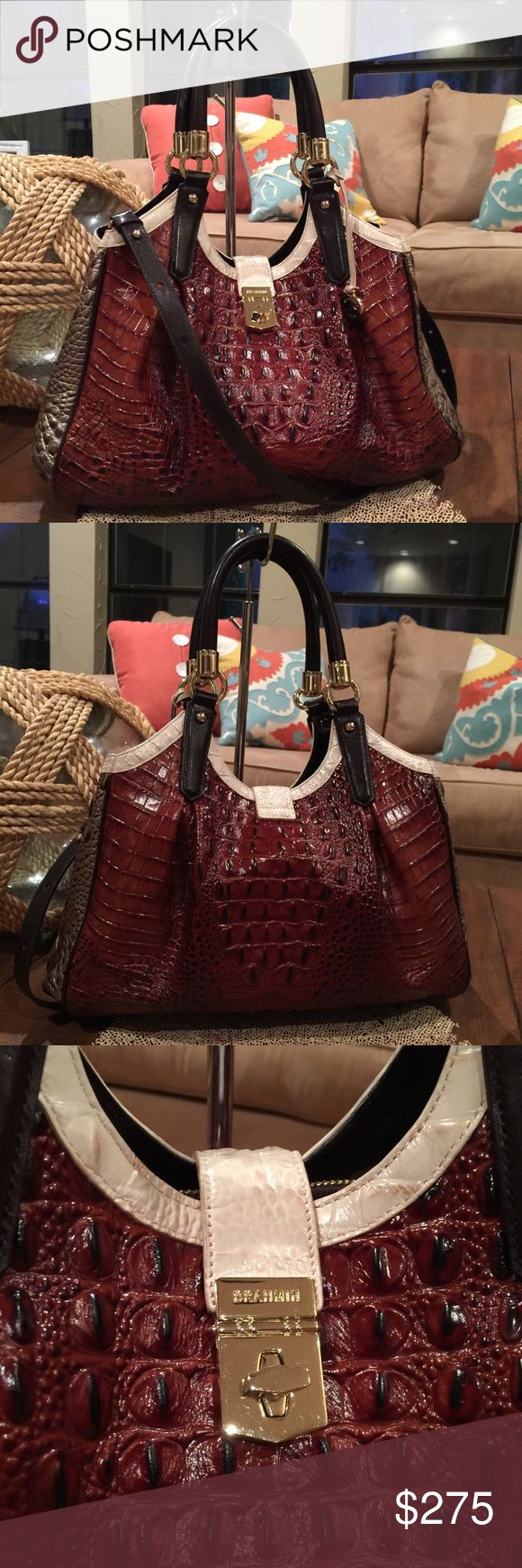 """🌴🌴BRAHMIN PECAN AZUMA ELISA HOBO🌴🌴 GORGEOUS FALL BAG!! Brahmin PECAN AZUMA ELISA HOBO Store Display. Retail $415 + tax ... so GREAT PRICE!! Sophisticated bag with Beautiful Croc embossing. Goldtone hardware! Feminine front and back pleats with a sweeping flared bottom - absolutely gorgeous!  * Handle hardware still has plastic protective film.  * Double handles, 8.5"""" drop - will fit over shoulder  * Fold over tab w/turn latch closure  * Inside zip &slip pockets w/center dividing zip…"""