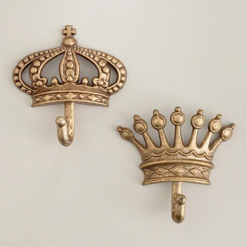 Cost Plus World Market Antique Champagne Crown Metal Hooks - Victorian Isles Collection >> #WorldMarket