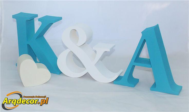 Pracownia Dekoracji ARQ - DECOR - Inicjały na stół Pary Młodej K & A (NA ZAMÓWIENIE) Wysokość 20 CM ! NR 30