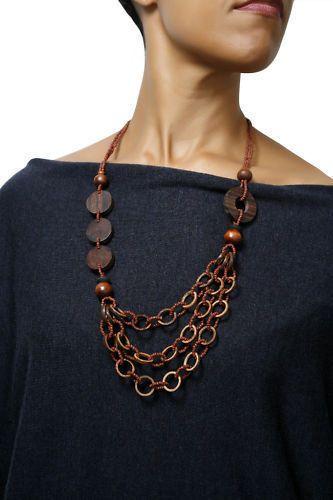 Wooden Flat Disc and Bead Necklace (Brown)