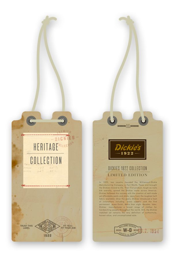 Dickies Clothing Tags {front & back} // Dustin Wallace