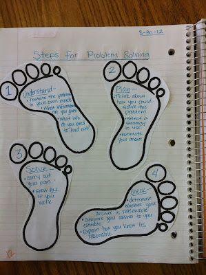 Problem solving plan (love the feet for steps)