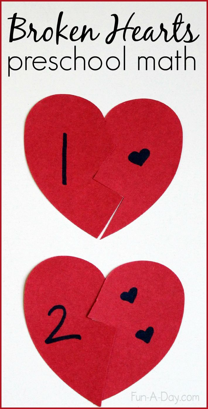 Broken Hearts Valentine Math Activity for Preschoolers