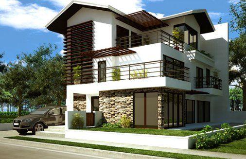 fachada de casa moderna, fachada de casa moderna 3 niveles, fachada de 3 pisos