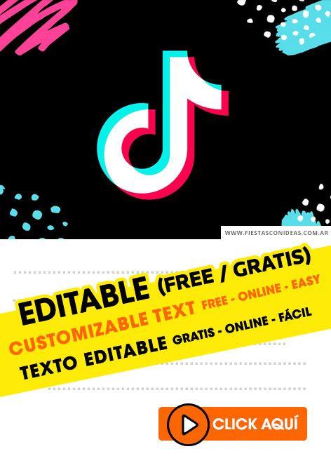 invitaciones editables de tik tok gratis en tarjetas invitacion cumpleanos invitaciones