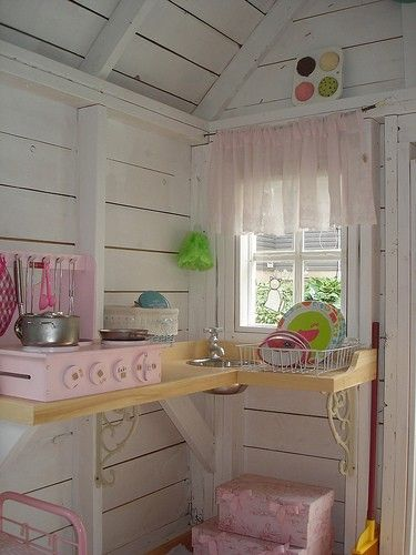 vintage kitchen inside playhouse