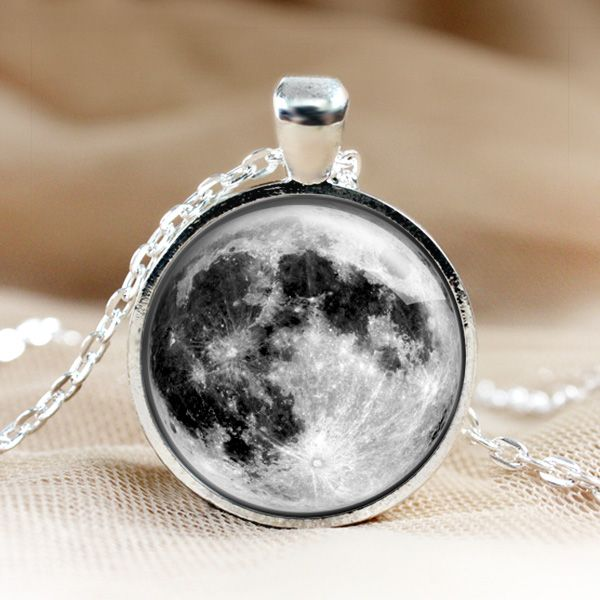 Full Moon Glass Pendant Moon Necklace,Pendants.Photo Jewelry.picture Pendant