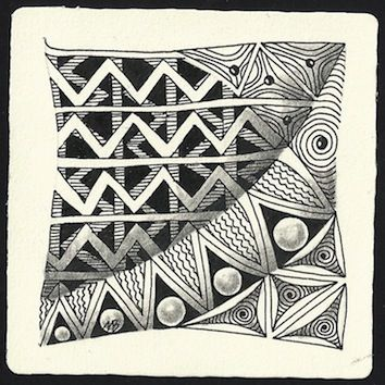 Tangles: Ziggy, Black Pearlz, Knase, Tripoli. Zentangle drawn by Margaret Bremner / enthusiasticartist.blogspot.com