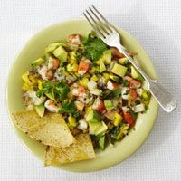 Tasty. More like Salsa that salad, though. Tropical Citrus Shrimp salad with tortilla chips from Good Housekeeping magazine.