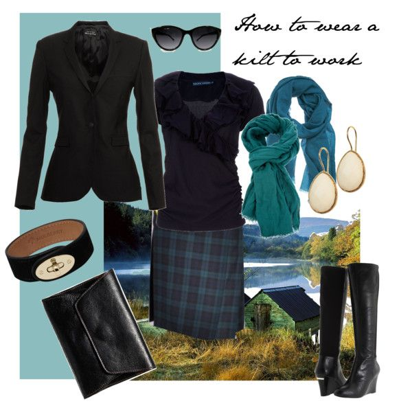 """Knowing that #Outlander - the amazing Scottish historical romance/sci fi book by Diana Gabaldon - is being made into a 2014 series on #Starz - I thought I'd recycle this """"How to wear a kilt to work"""" look. I do love me a kilt."""