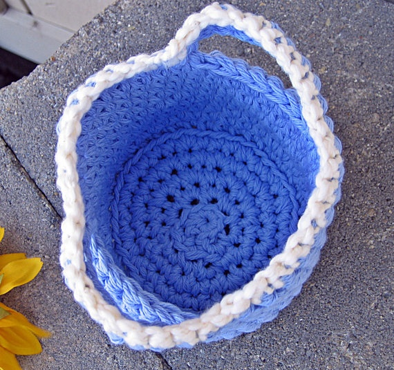 Handmade Cotton Baskets : Springy blue cotton basket handmade crochet