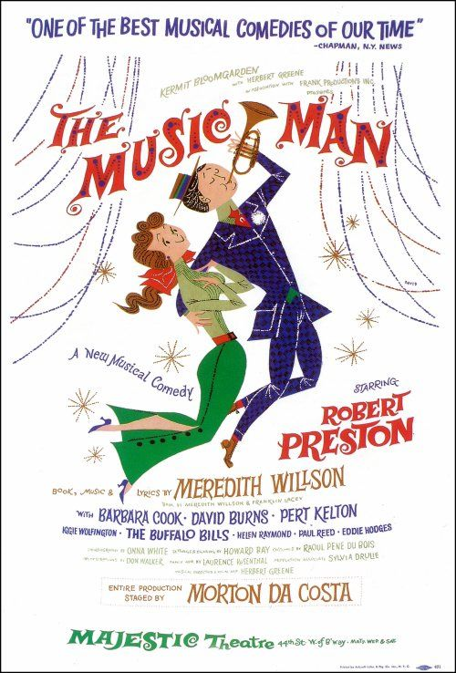 THE MUSIC MAN starring Robert Preston - Broadway musical poster.