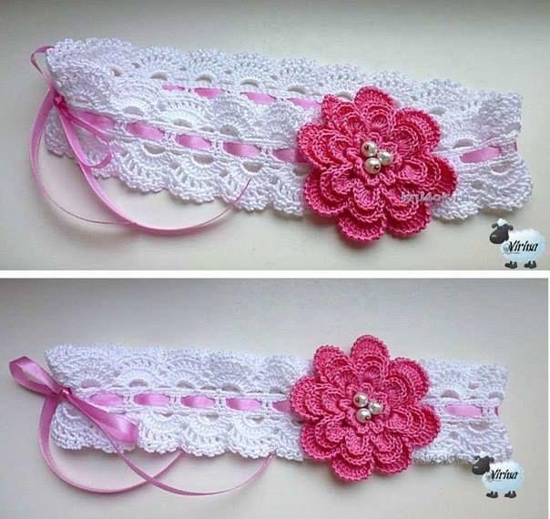 Haarband met bloem, zie (1 & 2) telpatroon