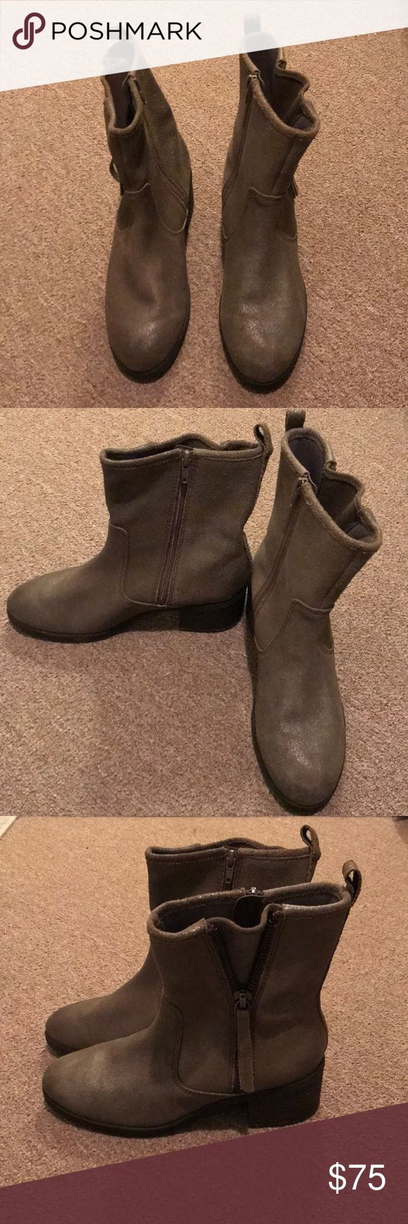 Grey Clarks boots Grey Clarks boots. Only worn once. Soft cushion sole. Exterior has slight sheen to it. Clarks Shoes