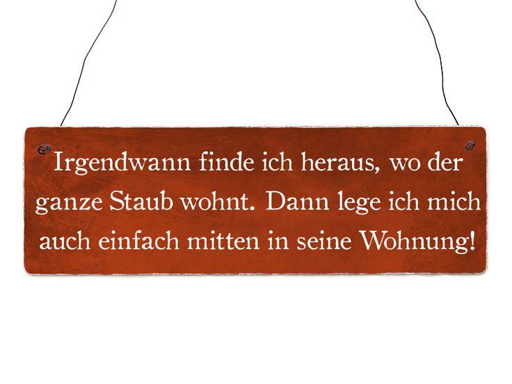 IRGENDWANN FINDE ICH STAUB Schild Vintage Holz von Interluxe via dawanda.com