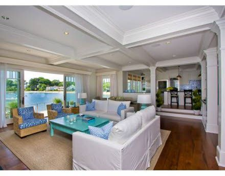 This Is The Living Room Of A Luxurious Coastal Home That Sits At Opening To Color CoordinationSeaside