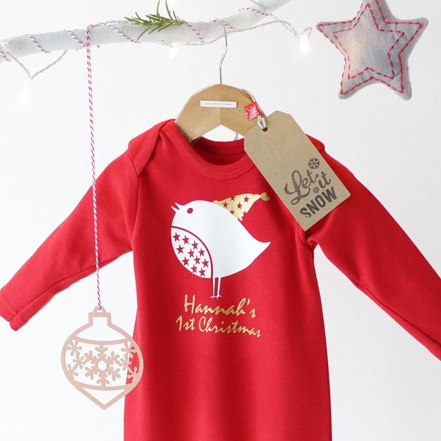 Personalised Robin First Christmas Romper.