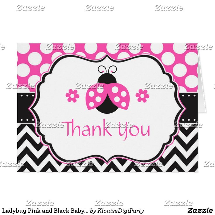 Ladybug Pink and Black Baby Shower Thank You Card