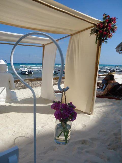 CBD220 Weddings Riviera maya hook with mason jar for aisle /  gancho con mason jar para pasillo de boda