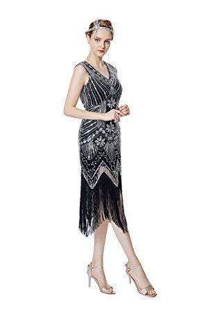 80ffc5c6475b Metme Women s 1920s V Neck Beaded Fringed Gatsby Theme Flapper Dress For  Prom at Amazon Women s Clothing store