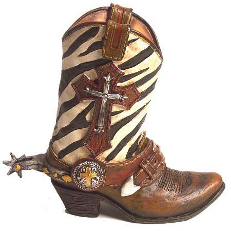 Image Detail for Cowboy Boot Vase Zebra Cross Western