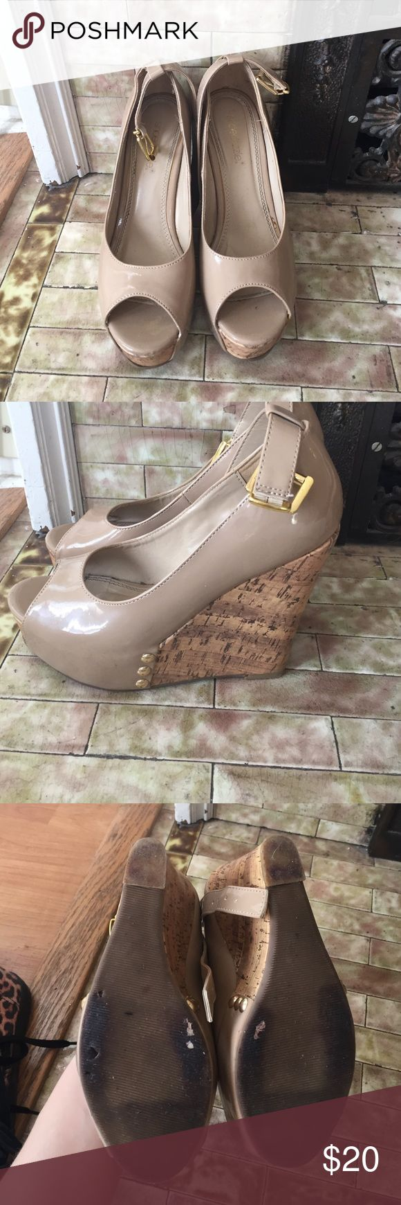 Tan shoedazzle cork shoes Tan shoedazzle cork shoes. Worn once and in great condition. Shoe Dazzle Shoes Heels