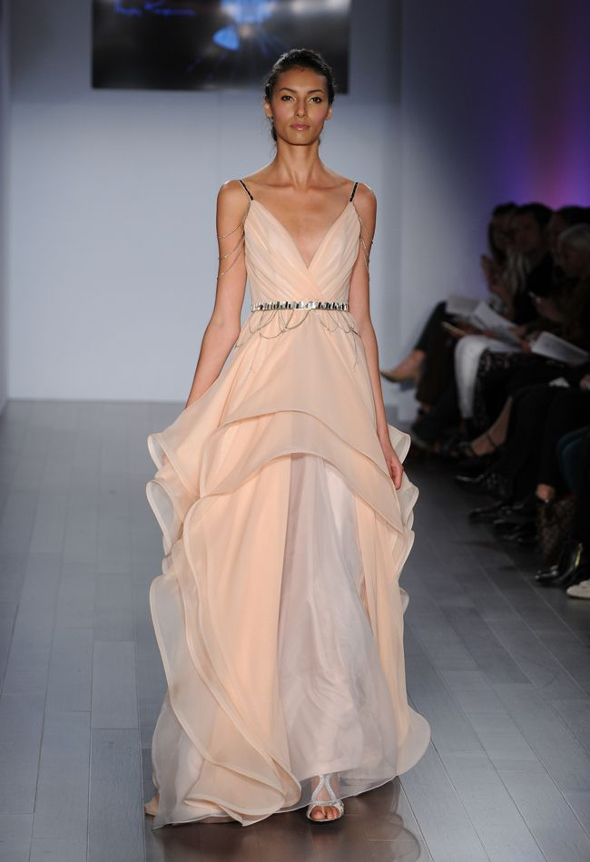 Blush A-Line Wedding Dress with Draped Beaded Sleeves   Hayley Paige Wedding Dresses Spring 2015   Kurt Wilberding   blog.theknot.com