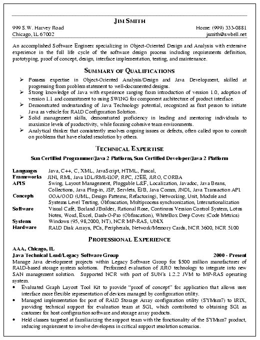 Software Engineering Resume Example for Software Engineering professional. The resume can be a reference for most software or programming positions.  The summary documents experience in object-oriented design/analysis, software development, requirements planning and testing. The writer also identi