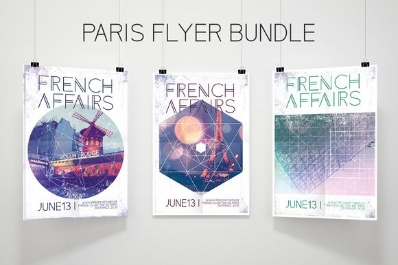 Paris Flyer Bundle French Connection by Beavergraphy on @creativemarket